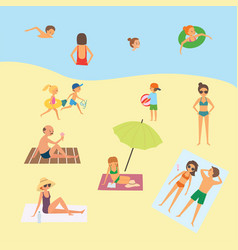 people on the beach vector image