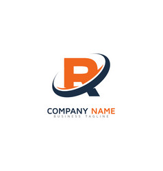 r ring letter with swoosh logo icon design vector image