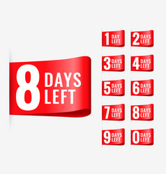 red days left label ribbon design vector image