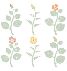 Retro grunge abstract flowers vector