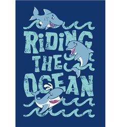 Riding the ocean vector image