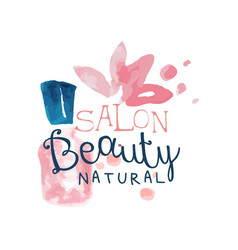 salon beauty natural logo label for hair or vector image