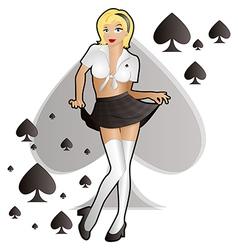 School Girl Spades vector image vector image