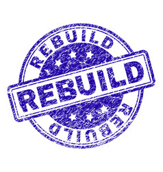 Scratched textured rebuild stamp seal vector