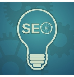 seo concept with bulb and gears vector image