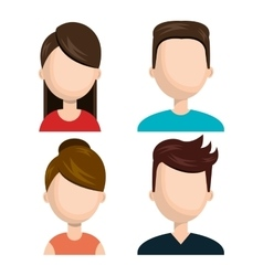 Set diverse persons young isolated vector