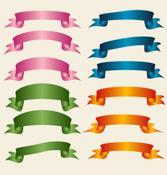 set of colorful empty ribbons and banners vector image