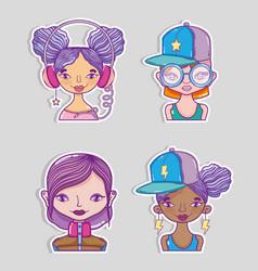 Set of millenial womens cartoons vector