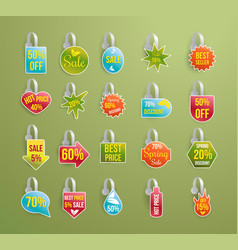 shelf wobbler discount labels set on green vector image