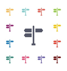 Signpost flat icons set vector