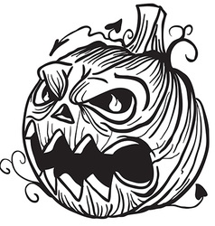 simple black and white pumpkin head vector image