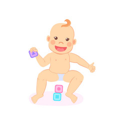 Smiling baby playing with wooden blocks isolated vector
