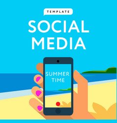 Social media template smart phone hands hold vector