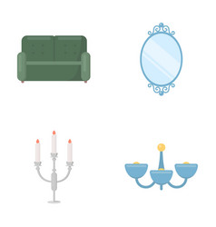 Sofa mirror candlestick chandelier vector