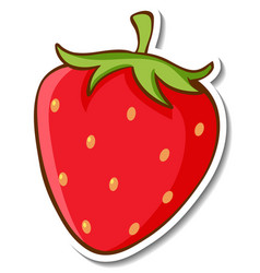 Sticker design with strawberry isolated vector