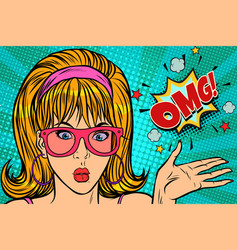 surprise omg pop art woman vector image