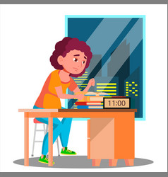 tired girl preparing for the exam at night vector image