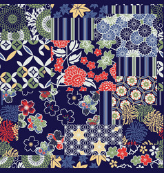 traditional japanese fabrics patchwork wallpaper vector image