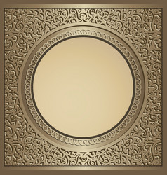 vintage gold background with swirly pattern vector image
