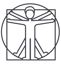 Vitruvian man line icon sign vector