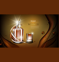 Whiskey bottle mock up closed glass alcohol flask vector