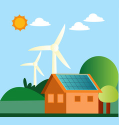 windmill and solar panels on a house on white vector image