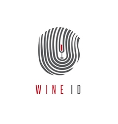 wine id concept with glass and fingerprint vector image