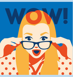 wow face of surprised woman holding sunglasses in vector image