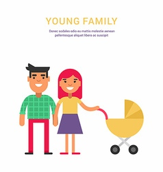 Young Family Concept Flat Style Father Mother vector image