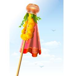 Gudi padwa Copper pot and garland Festive vector image vector image