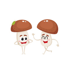 Two mushroom characters one walking another vector