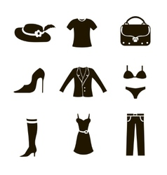 clothes icon set woman vector image vector image