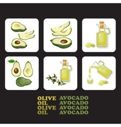 Set of avocado and olive icons vector image vector image