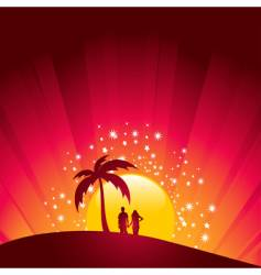 tropical sunset couple vector image vector image