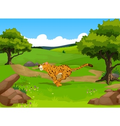 funny cheetah cartoon running with forest landscap vector image vector image