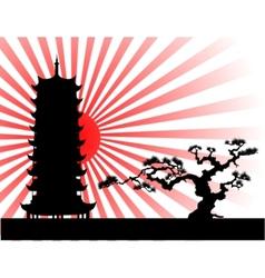 japanese landscape silhouette vector image vector image