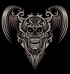 Ornate Winged Skull vector image