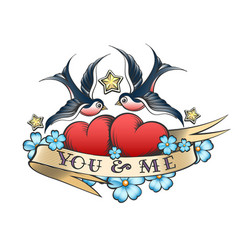 tattoo with swallows and hearts with ribbon vector image