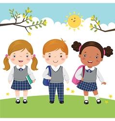 Three kids in school uniform going to school vector