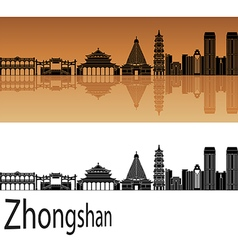 Zhongshan skyline in orange vector image