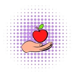 A hand giving a red apple icon comics style vector