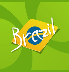 brazil flag over green background vector image vector image