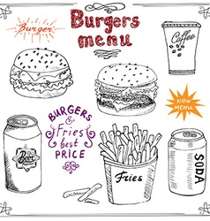 Burger Menu hand drawn sketch Fastfood Poster with vector image vector image