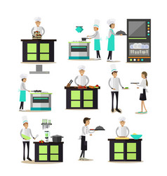set of professional cooking people icons in vector image vector image