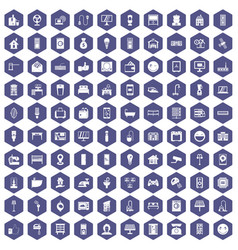 100 smart house icons hexagon purple vector image vector image