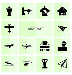 14 aircraft icons vector image