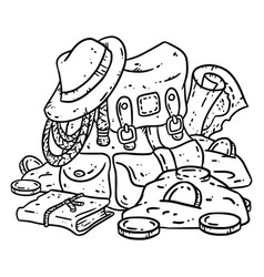 Adventurer pack lineart for coloring treasure vector