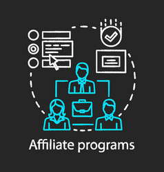 Affiliate programs chalk concept icon affiliate vector