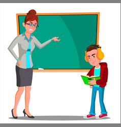 Angry teacher at the blackboard the child at desk vector