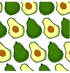 Avocado ripe berry with seed seamless pattern vector